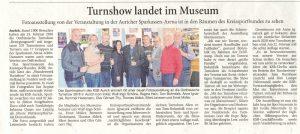 Zeitungsartikel: Turnshow landet im Museum - Fotoausstellung von der Veranstaltung in der Sparkassen-Arena ist in den Räumen des Kreissportbundes zu sehen
